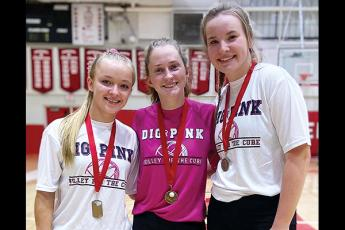 "Photo submitted - Seniors, from left, Adrianne Duvall, Rhiley Bryson and Alison Knop were recognized last week for their career statistical achievements. ""They deserved that night,"" FHS coach Bekah Brooks said."