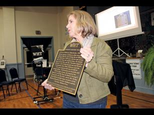 Press photo/Jake Browning - Marty Greeble presents the next plaque for the Women's History Trail, which will commemorate the life of Rebecca Na'Ha Morris.