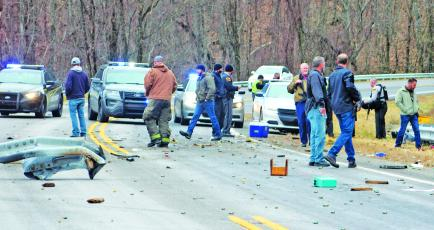 Press photo/Jake Browning - Officers from the Macon County Sheriff's Department, the Clay County Sheriff's Department and the North Carolina State Highway Patrol were among the dozens of officers who responded to the incident.