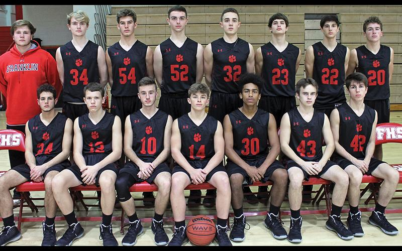 Press photo/Andy Scheidler - Franklin's boys basketball team opens the season Saturday at Highlands. Front row, from left: Isaiah Johns, Eli Gilbert, Trey Woodard, Kellen Stiles, Chad Wilson, Bennett Swafford, Dexter Jennings. Back row: Wyatt Gibson, Brayden Sroka, Bryce Rogers, Chris Hartbarger, Miles McClure, Trey Penland, Griffin Green, Seth Crupi.