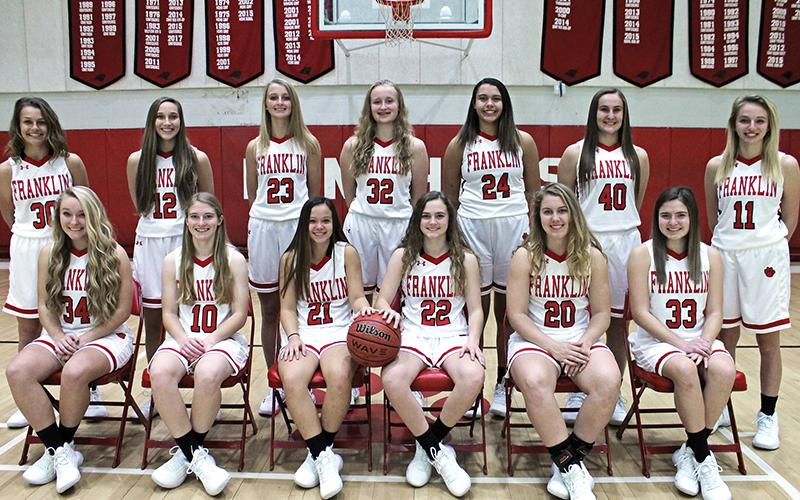 Press photo/Andy Scheidler - Franklin is set to tip off the 2019-20 season Saturday at Highlands. Front row, from left: Corey Burrell, Kandice Parker, Nevaeh Tran, Kyndell Burns, Taylor Carlton, Sydney Chapman. Back row: Tory Ensley, Chela Green, Sierra Wade, Canaan Drake, Sydney Williams, Makayala Brewer, Chesnie Berry.