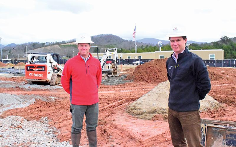 Press photo/Linda Mathias Bryan, left, and Hammond Rauers are shown at the Franklin Ford construction site.